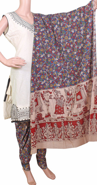 * No GST Sale 50% Off *  Kalamkari Cotton pattern salwar material (Florals - Blue) (24056A)  (2 piece set)