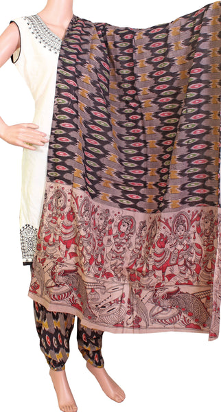 * No GST Sale 50% Off * Kalamkari Cotton pattern salwar material (Black) (24058D)  (2 piece set), Chudi - Swadeshi Boutique