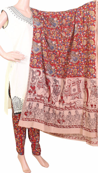 * No GST Sale 50% Off * Kalamkari Cotton pattern salwar material (Peacock - Red) (24060A)  (2 piece set)