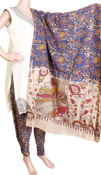 Kalamkari Cotton pattern salwar material (village theme - Blue) (24066A)  (2 piece set)