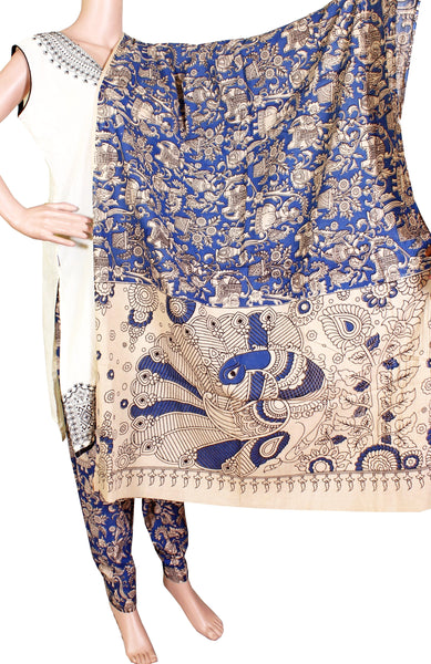 Kalamkari Cotton pattern salwar material (village theme - Blue) (24066B)  (2 piece set)