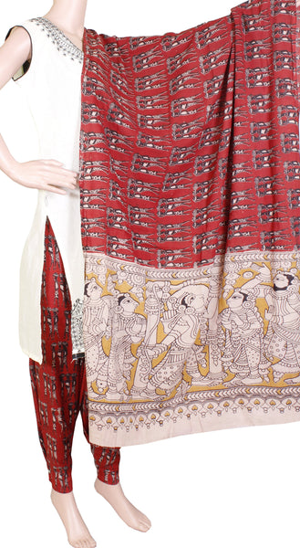 Kalamkari Cotton pattern salwar material (Employees - Red) (24074A)  (2 piece set)