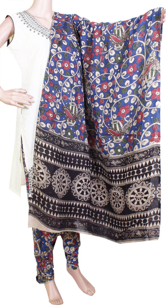 Kalamkari Cotton pattern salwar material (Flowers & Peacock) (24078A)  (2 piece set)* Sale 50% Off *, Chudi - Swadeshi Boutique