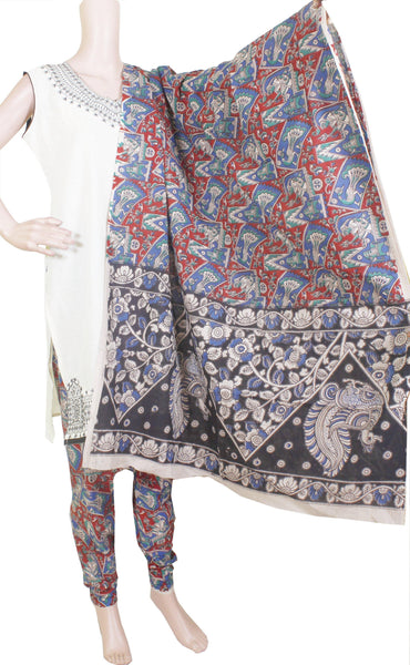 * No GST Sale 50% Off *  Kalamkari Cotton pattern salwar material (Beautiful Peacock) (24079A)  (2 piece set)
