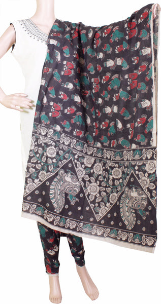 * No GST Sale 50% Off *  Kalamkari Cotton pattern salwar material (Beautiful Hands Mudhra) (24080A)  (2 piece set)