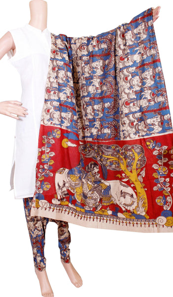 Kalamkari Cotton pattern salwar material (Beautiful Cows) (24086A)  (2 piece set)