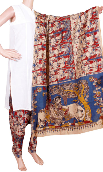 * No GST Sale 50% Off * Kalamkari Cotton pattern salwar material (Beautiful Cows) (24086C)  (2 piece set)