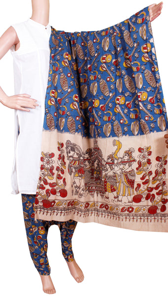 Kalamkari Cotton pattern salwar material (Beautiful Music instrument) (24090A)  (2 piece set)