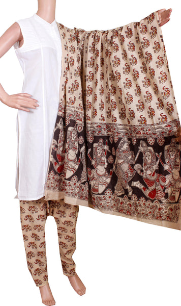 Kalamkari Cotton pattern Chudi material (Beautiful Elephant) (24092A)  (2 piece set)