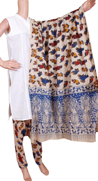 * No GST Sale 50% Off * Kalamkari Cotton pattern salwar material (Beautiful Hands Mudhra) (24093A)  (2 piece set)