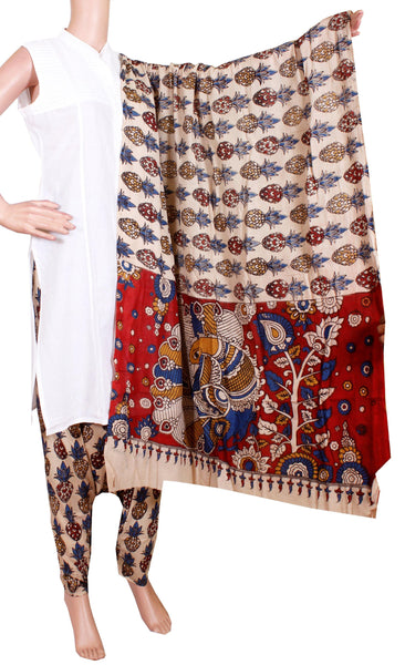 Kalamkari Cotton salwar material with pineapple design  (24095A)  (2 piece set)*  Sale 50% Off *, Chudi - Swadeshi Boutique
