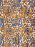 * Clearance Sale * Kalamkari Cotton Blouse material with Elephants (Blue and Yellow)(25032B) (Premium Cotton)