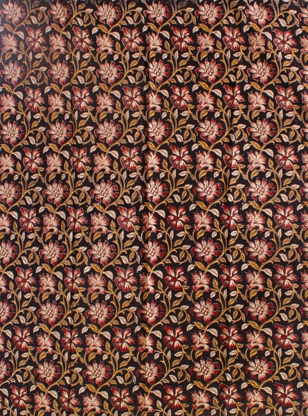 Kalamkari Cotton Blouse material with Flowers (Black)(25034C) (Premium Cotton)
