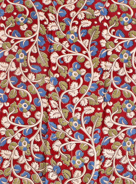 Kalamkari Cotton Blouse material with Flowers - Red (25041B) (Premium Cotton)