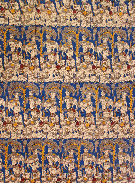 Kalamkari Cotton Blouse material with Cows - Blue (25081B) (Premium Cotton), Blouse - Swadeshi Boutique