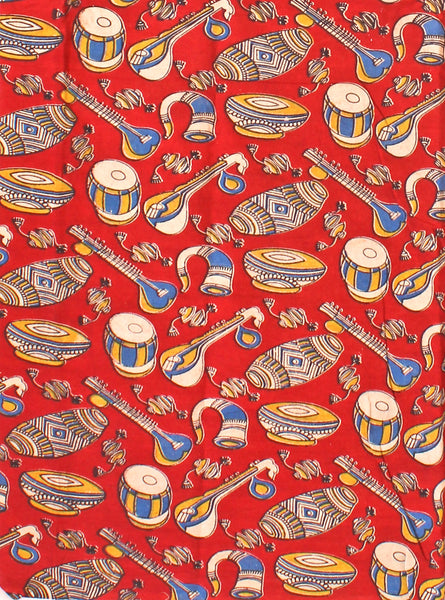 Kalamkari Cotton Blouse material (Beautiful Instruments - Red) (25091D)