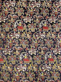 Kalamkari Cotton Blouse material with Village theme - Black (25095E) (Premium Cotton)