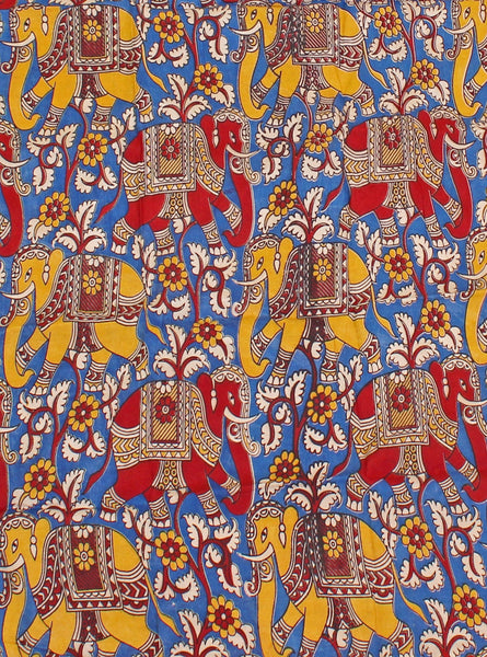 Kalamkari Cotton Blouse material (Beautiful Elephants - Blue) (25097B), Blouse - Swadeshi Boutique