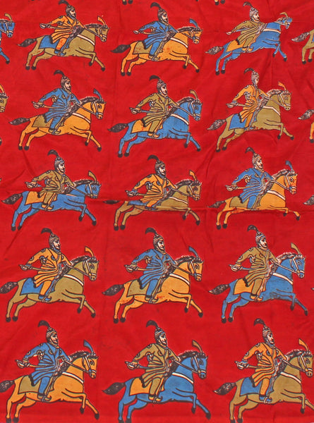 Kalamkari Crepe Silk Blouse material (Horse & Soldier - Red) (25098A), Blouse - Swadeshi Boutique