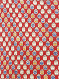 Kalamkari Cotton Blouse material with Bhuddha faces - Red (25115D) (Premium Cotton)