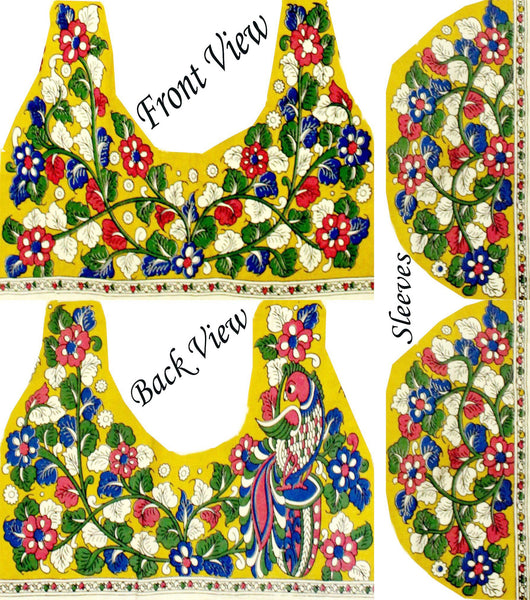 Kalamkari Cotton Blouse material with flowers & Peacock (Yellow)(25125C) Multi-pattern (front/back/arm)