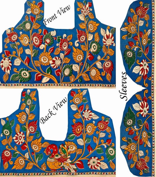 Kalamkari Cotton Blouse material with flowers & Peacock (Blue)(25126B) Multi-pattern (front/back/arm)