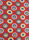 Kalamkari Cotton Blouse material with SunFlowers - Red (25136A)