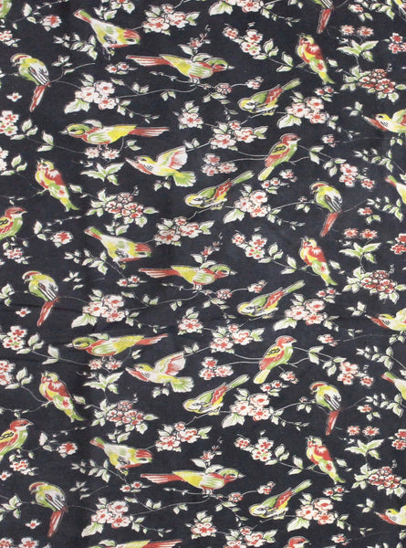 Kalamkari Cotton Blouse material (Beautiful Parrots - Black) (25159A), Blouse - Swadeshi Boutique