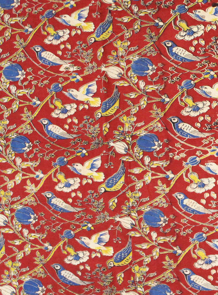 Kalamkari Cotton Blouse material with Beautiful Parrots - Red (25159B), Blouse - Swadeshi Boutique