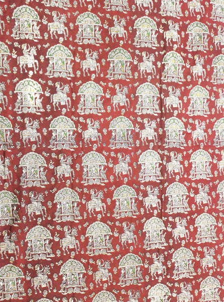Kalamkari Cotton Blouse material with Pallaku - Maroon (25163A), Blouse - Swadeshi Boutique