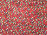 Kalamkari Cotton Blouse material with Chilly - Red (25189A), Blouse - Swadeshi Boutique