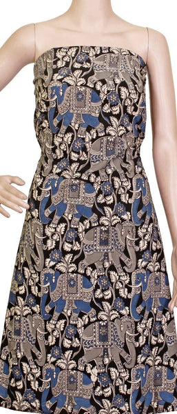 * Sale * Kalamkari Cotton Salwar Tops/Kurti material with Elephant  - Black & Blue (26027A)