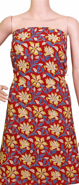 Kalamkari cotton salwar Tops/Kurti material with flowers  - Red (26029B), Tops - Swadeshi Boutique