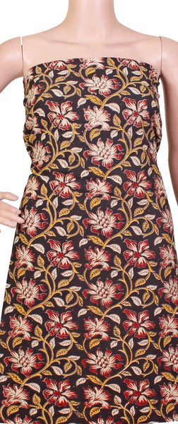 Kalamkari cotton Kurti material with flowers (26029C), Tops - Swadeshi Boutique