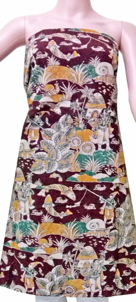 Kalamkari Cotton Salwar Tops/Kurti material with fish  - Maroon (26038), Tops - Swadesh