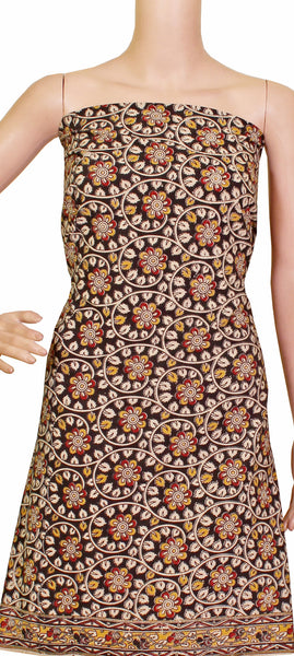 Kalamkari dyed Tops/Kurti on Nalgonda silk with flowers [Black] - (26087A) - Swadeshi Boutique