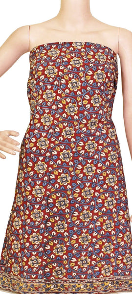 Kalamkari dyed Tops/Kurti on Nalgonda silk with flowers [Red] - (26087B), Tops - Swadeshi Boutique