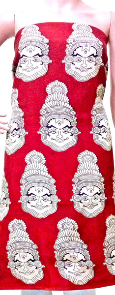 Kalamkari Crepe Silk Salwar Tops/Kurti material with Faces - Red (26049B) *SALE 30% OFF*, Tops - Swadeshi Boutique