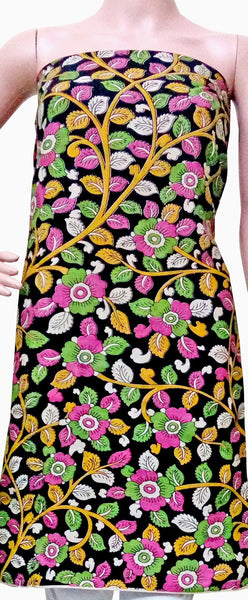 Kalamkari Crepe Silk Salwar Tops/Kurti material with Flowers - Black & Pink (26050A), Tops - Swadeshi Boutique