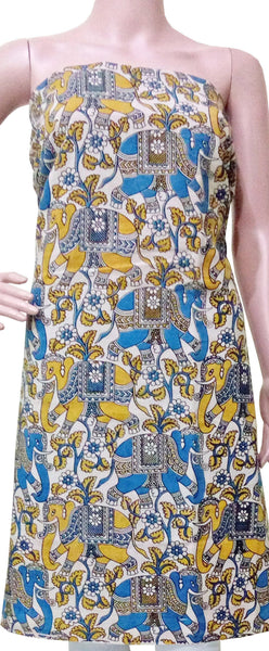 *Kids Size - Intro Offer* Kalamkari Cotton Salwar Tops/Kurti material with Elephants - Blue & Yellow (K26008B)