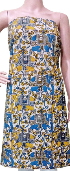 Kalamkari Cotton Salwar Tops/Kurti material with Elephants - Blue & Yellow (26055A), Tops - Swadesh