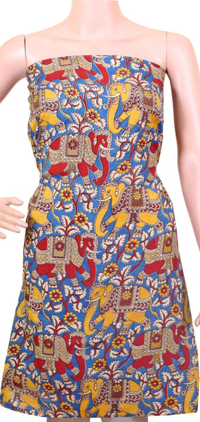 Kalamkari Cotton Salwar Tops/Kurti material with Elephants - Blue, Red & Yellow (K26008A)*Kids Size - Intro Offer*, Tops - Swadeshi Boutique