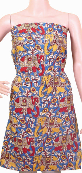 * No GST sale 50% off * Kalamkari Cotton Salwar Tops/Kurti material with Elephants - Blue, Red & Yellow (26055B)