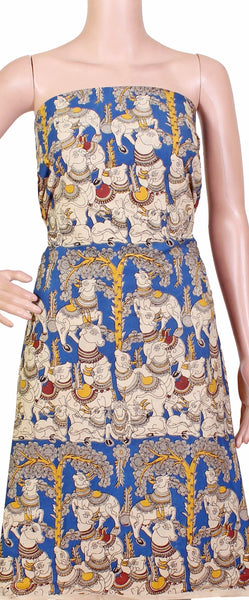 * Mega sale Rs.75 Off * Kalamkari Cotton Salwar Tops/Kurti material with Cows - Blue (26056C)