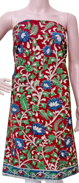 * No GST Sale 50% Off  * Kalamkari Cotton Salwar Tops/Kurti material with Flowers  - Red (26060A), Tops - Swadeshi Boutique
