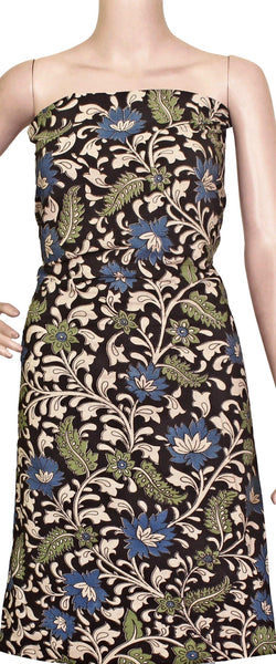 * Clearance Sale * Kalamkari Cotton Salwar Tops/Kurti material with Flowers  - Black & Green (26060C)