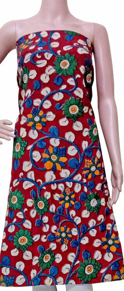 Kalamkari Crepe Silk Salwar Tops/Kurti material with flowers - Red (26065A), Tops - Swadeshi Boutique