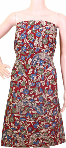 Kalamkari Cotton Salwar Tops/Kurti material with Peacock - Red (26080A)