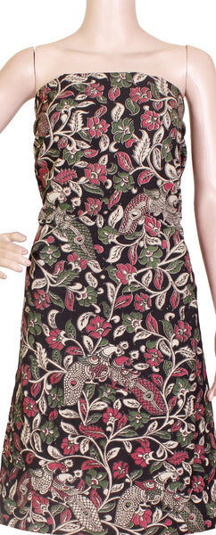 [26080D] Kalamkari Cotton Salwar Tops/Kurti material with Peacock - Black (26080D), Tops - Swadeshi Boutique