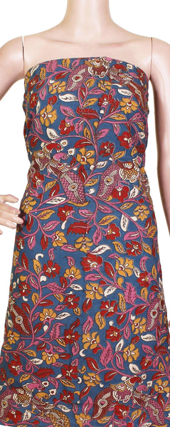 Beautiful Kalamkari Cotton Salwar Tops/Kurti material with Peacock - Red & Blue (26080F)